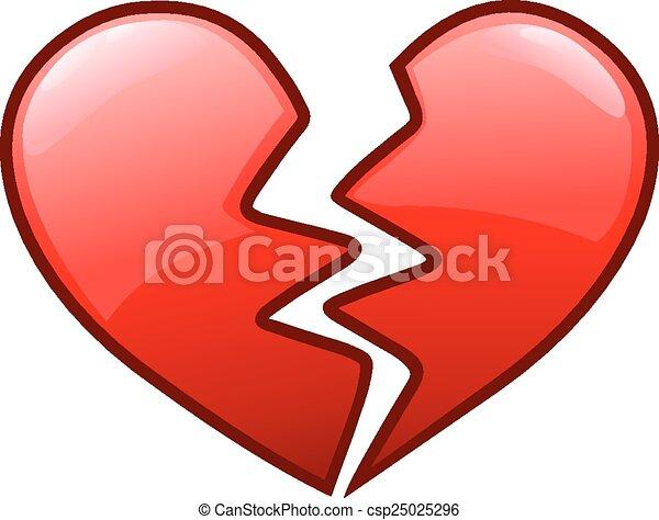 coeur cassé, icône - csp25025296