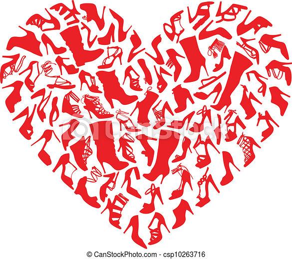 coeur, chaussures, vecteur, rouges - csp10263716