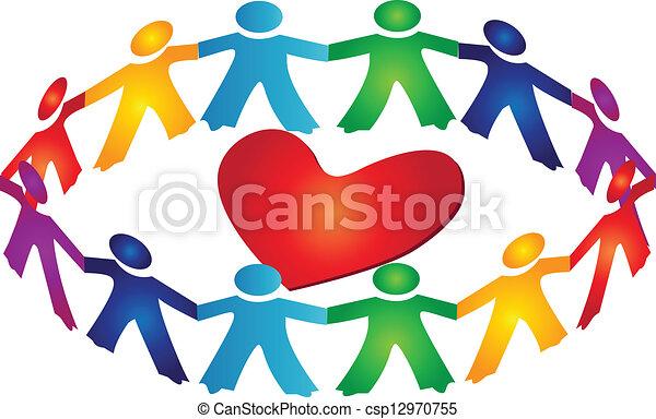 coeur, collaboration, autour de, logo - csp12970755