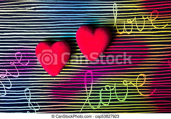 coeur, coloré, peint, contre, main, forme, fond - csp53827923
