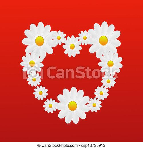 Coeur Concepteur Fond Couleur Fleurs Blanches Coeur Concepteur