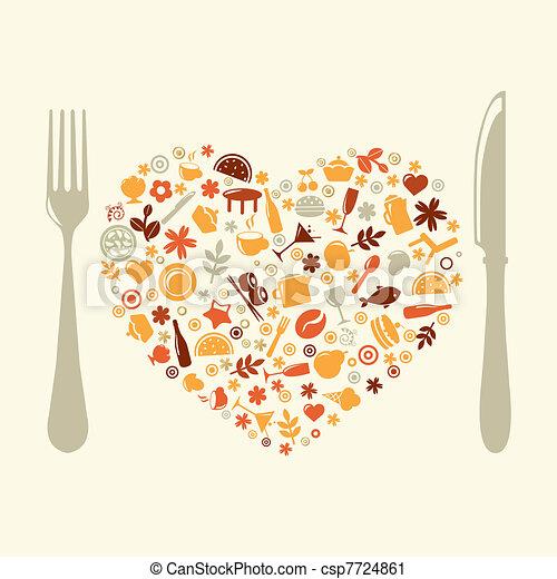 coeur, conception, formulaire, restaurant - csp7724861