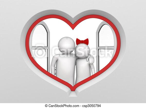 coeur, couple, fenêtre, formé - csp3050794