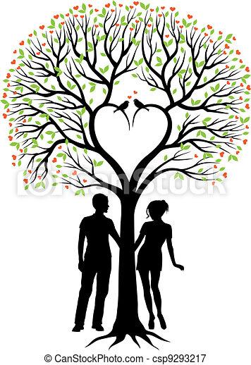 coeur couple vecteur arbre coeur oiseaux feuilles arbre vecteur arri re plan vert. Black Bedroom Furniture Sets. Home Design Ideas