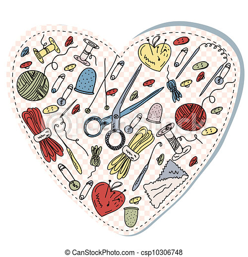 Coeur couture tricot dessin anim rigolote - Dessin de couture ...