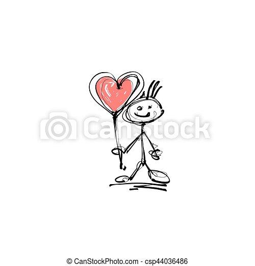 Coeur Croquis Figure Main Crosse Humain Sourire Dessin