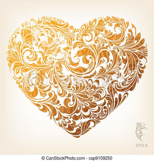coeur, décoratif, or, modèle - csp9109250