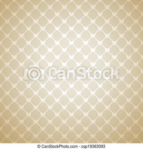 coeur, dentelle, mur, clair, ton, design., toile, tissu, confiant, pattern., texture, arrière-plan., livre, papier peint, illustration, tissu, chaud, délicat, romantique, vecteur, beige, cover. - csp19363093