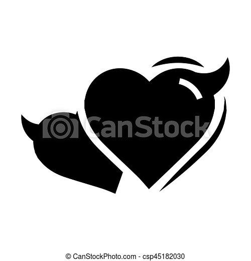 Coeur Diable Couleur Amour Deux Noir