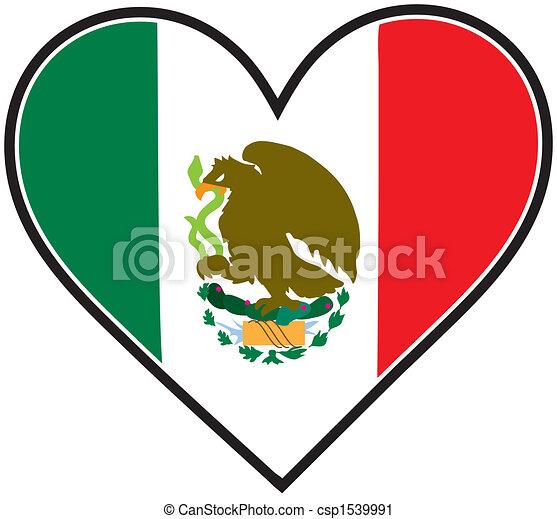 Coeur Drapeau Mexique Coeur Drapeau Mexicain Aimer Forme Canstock