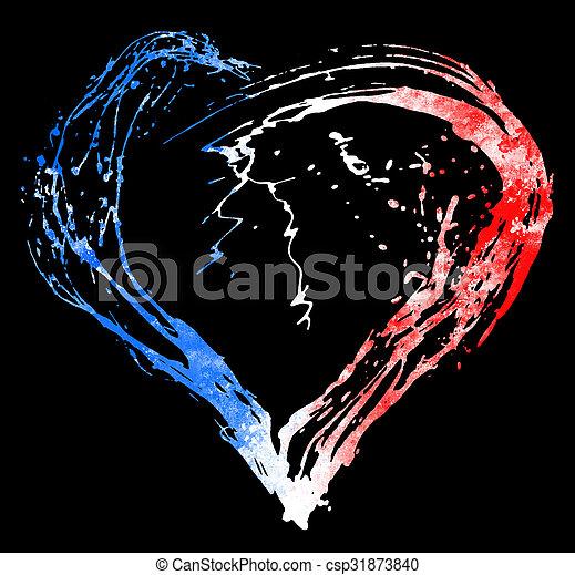 coeur, drapeau, symbolique, couleurs, francais - csp31873840