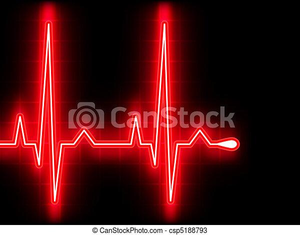 coeur, ekg, graph., eps, beat., 8, rouges - csp5188793