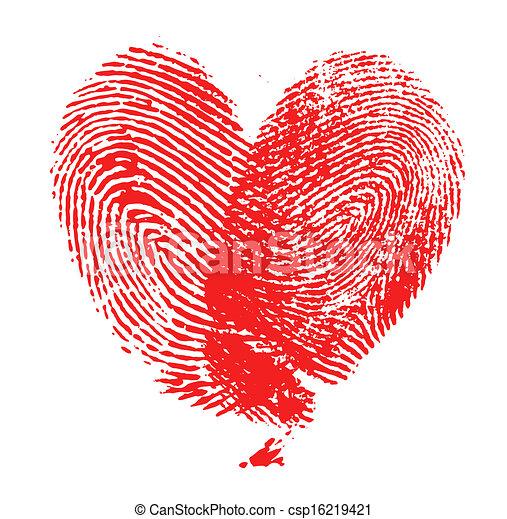 coeur, empreinte doigt - csp16219421