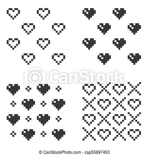 Coeur Ensemble Modèle Seamless Arrière Plan Vecteur Blanc Pixel