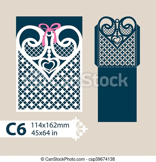 Coeur Enveloppe Decoupe Gabarit Openwork Decoupe Printing Cartes Disposition Modele Openwork Gabarit Image Canstock