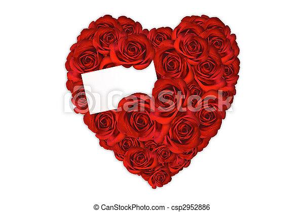 coeur, fait, amour, roses, message blanc, carte - csp2952886