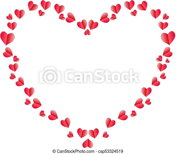 Coeur Fait Cadre Plie Papier Cœurs Rouges Vecteur Coeur