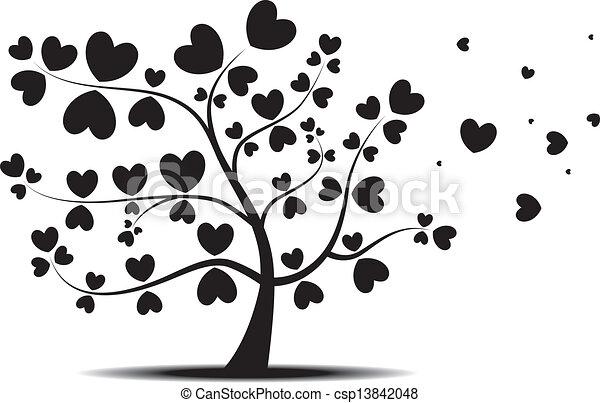 coeur, feuilles, arbre, rouges - csp13842048