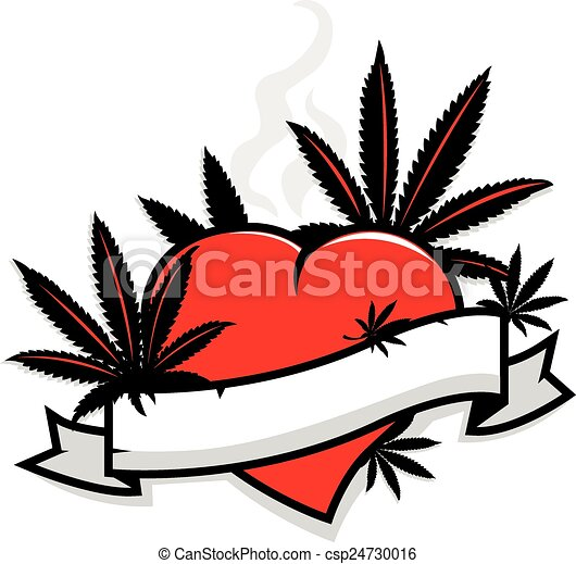 Coeur feuilles banni re marijuana coeur silhouette isolated feuilles marijuana - Dessin feuille cannabis ...