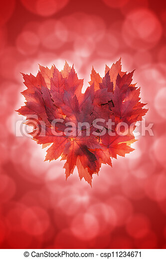 coeur, feuilles, forme, érable, fond, rouges - csp11234671