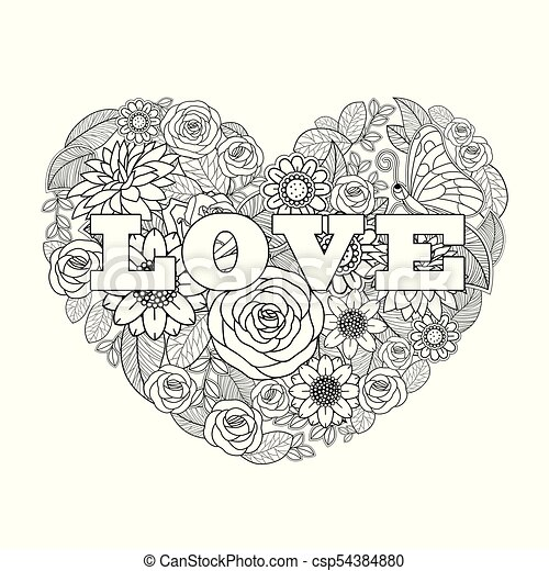Coeur Fleur Valentine Forme Noir Blanc Dessin