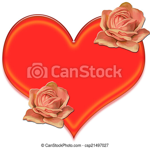coeur, fleurs, art, agrafe - csp21497027