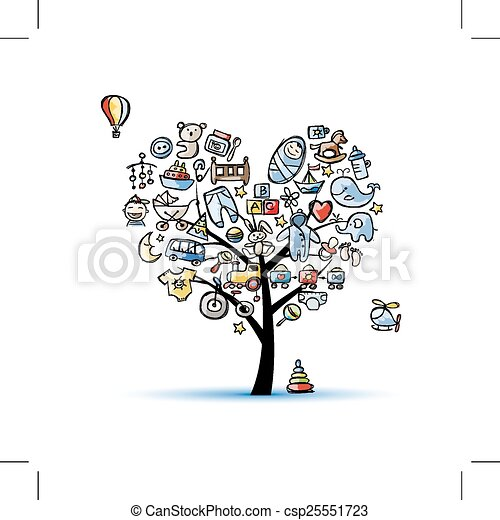 coeur gar on arbre forme jouets b b coeur arbre illustration vectorielle. Black Bedroom Furniture Sets. Home Design Ideas