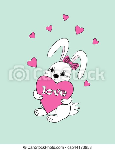 coeur garder amour mignon dessin anim blanc lapin clipart vectoriel rechercher. Black Bedroom Furniture Sets. Home Design Ideas