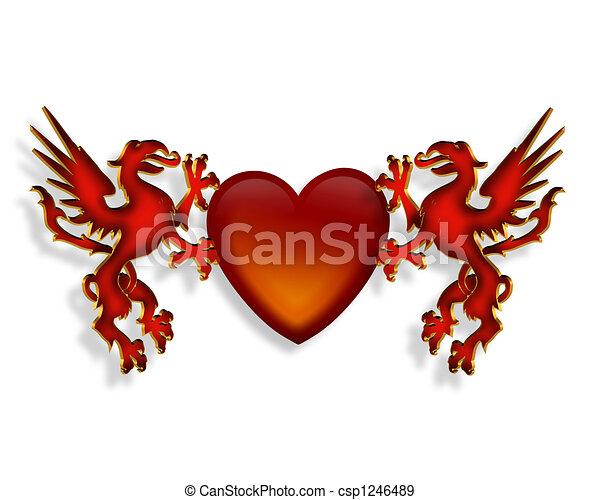 coeur graphique dragons 3d coeur tenue illustration illustration de stock rechercher. Black Bedroom Furniture Sets. Home Design Ideas