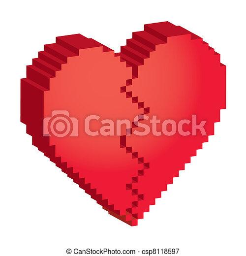 Coeur Illustration Cassé Pixels 3d