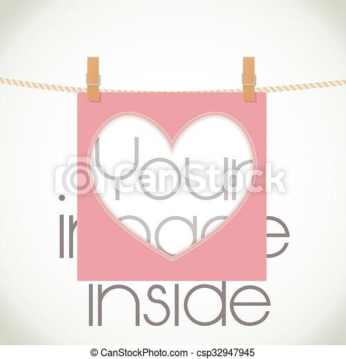 coeur, image., cadre, corde, forme, vecteur, endroit - csp32947945