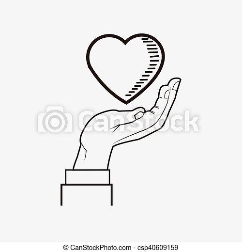 Coeur image dessin ligne main plat coeur image - Main en dessin ...