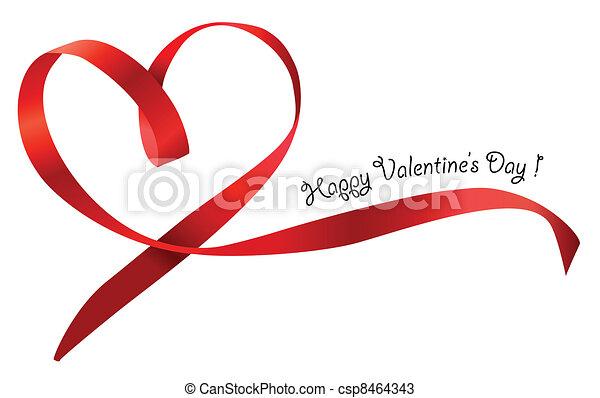 coeur, isolé, arc, arrière-plan., vecteur, ruban, blanc rouge - csp8464343