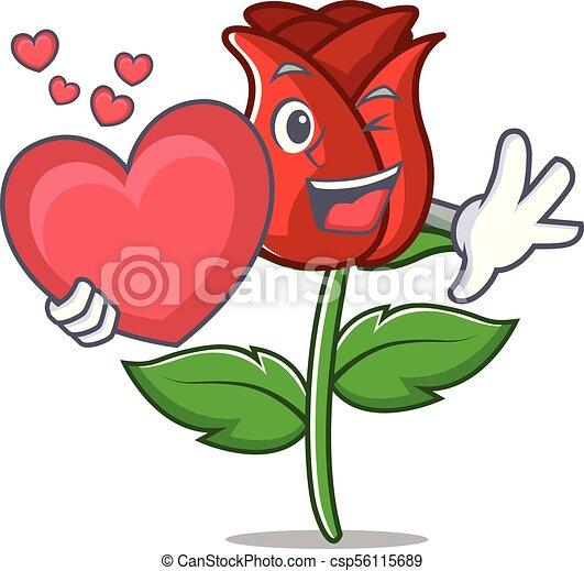 Coeur Mascotte Dessin Animé Rose Rouge