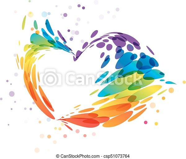 Coeur Multicolore éclaboussure Blanc