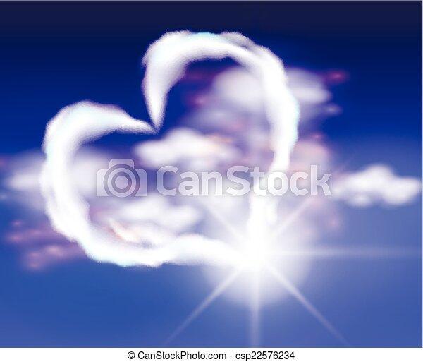 coeur, nuages, ciel - csp22576234