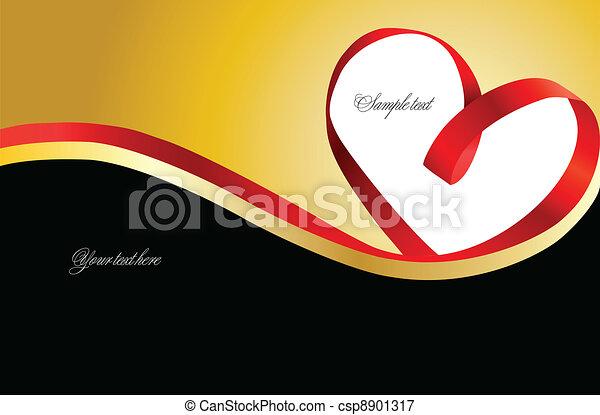 coeur, or, arrière-plan., vecteur, ruban rouge - csp8901317
