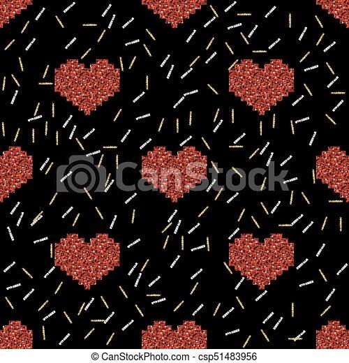Coeur Or Modèle Seamless Argent Arrière Plan Noir Scintillement Pixel Rouges