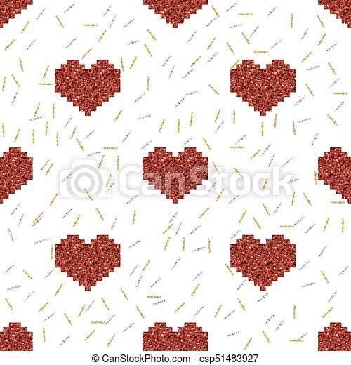 Coeur Or Modèle Seamless Argent Fond Scintillement Pixel Rouges