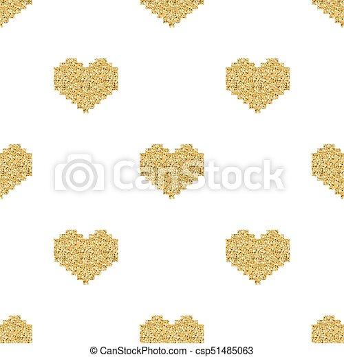 Coeur Or Modèle Seamless Fond Blanc Scintillement Pixel