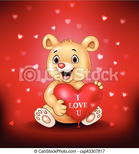 coeur ours tenue ballons dessin anim rouges csp43307817 - Ours Coeur
