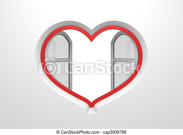 coeur, ouvert, copyspace, soleil, intérieur, fenêtre, abat-jour - csp3009788