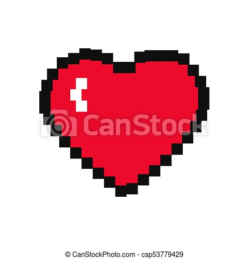 Coeur Pixel Icone Coeur Isole Fond Blanc Pixel Icone Canstock