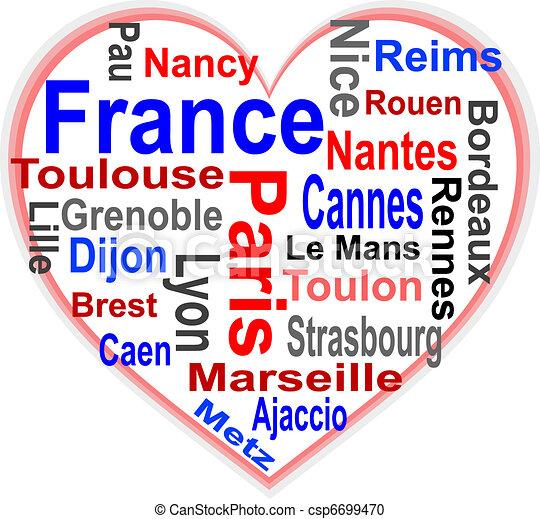 coeur, plus grand, france, mots, villes, nuage - csp6699470
