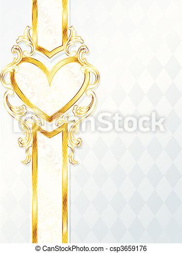 coeur, rococo, bannière, mariage - csp3659176
