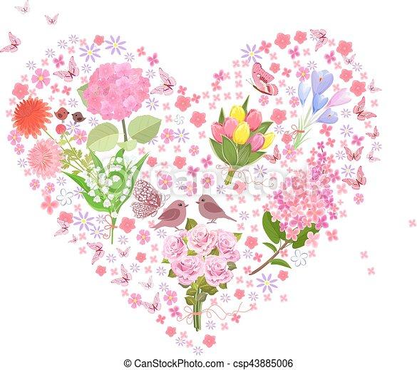 Coeur Romantique Coupl Printemps Bouquets Floral Fleurs
