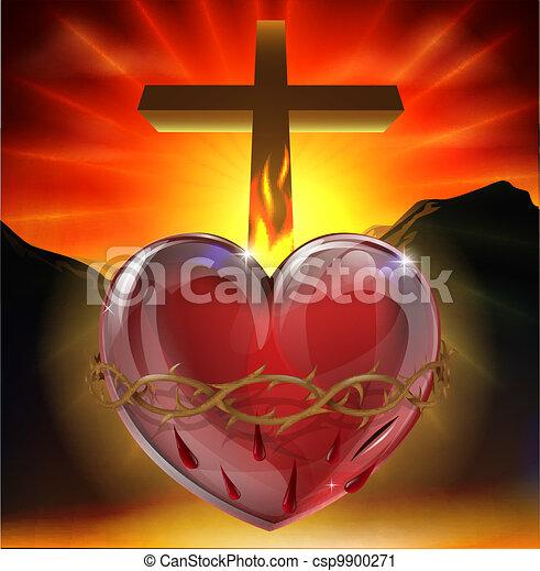 coeur sacré, illustration - csp9900271