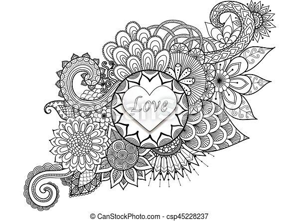 Coeur, shap, mandala, fleurs. Coloration, amour, valentine ...