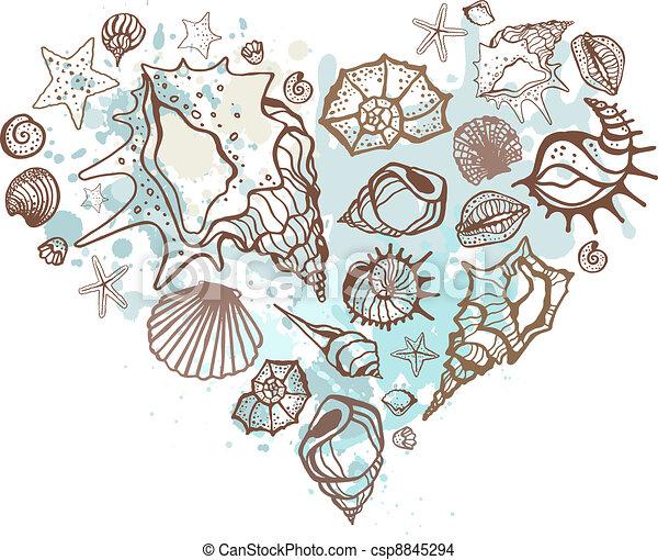 coeur, shells., illustration, main, vecteur, dessiné - csp8845294