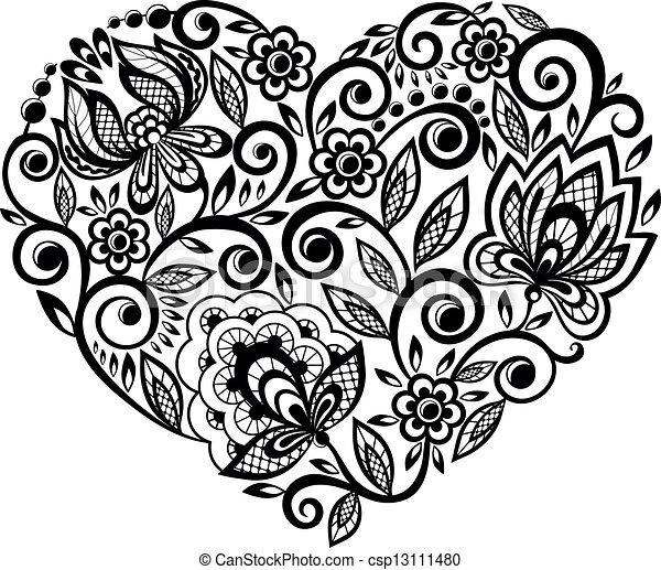 Dentelle Dessin coeur, silhouette, dentelle. beau, silhouette, lacez coeur, fleurs.